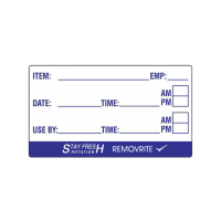 Removrite Item Label 50mm x 25mm Item Label Item, Emp, Date & Time, and Useby & Time Fields 1 Roll Containing 500 Labels
