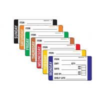Washrite Coloured Day Label 49x82 Monday - Sunday Pack